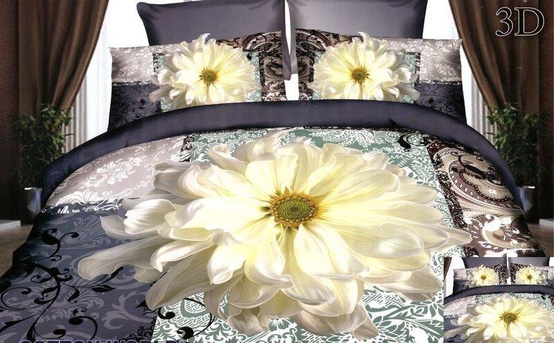 3D voodipesukomplekt 4-osaline, valge õis tumedal taustal цена и информация | Voodipesukomplektid | kaup24.ee