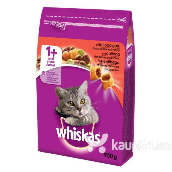 Whiskas kuivtoit loomalihaga, 950 g цена и информация | Kuivtoit kassidele | kaup24.ee