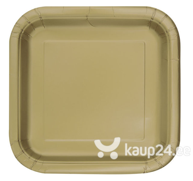 Pabertaldrikud, kuldne ruut, 14 tk цена и информация | Peolaua kaunistused, dekoratsioonid | kaup24.ee