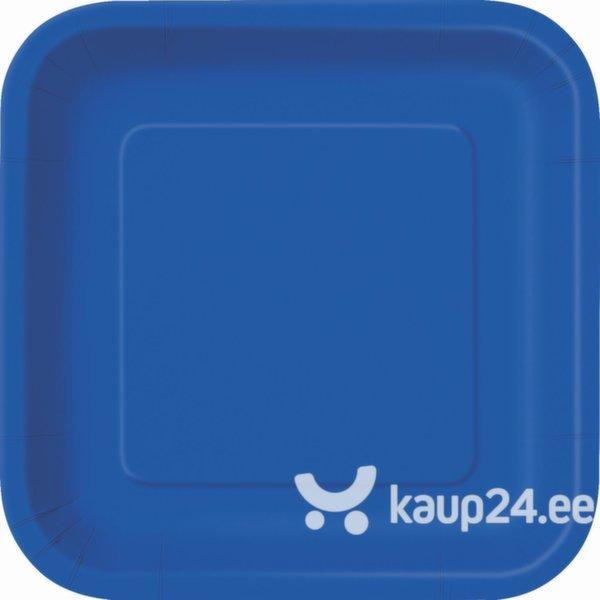 Pabertaldrikud, sinine ruut II, 16 tk цена и информация | Peolaua kaunistused, dekoratsioonid | kaup24.ee