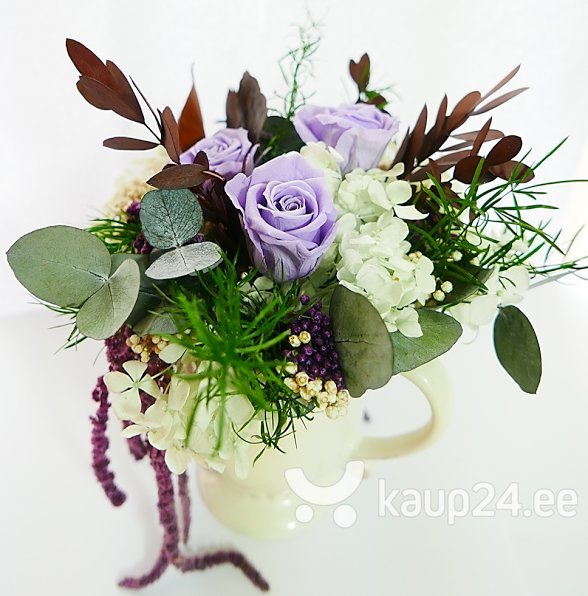 Lillebukett dekoratiivse roosiga Amorosa, helelilla I цена и информация | Dekoratiivsed roosid | kaup24.ee