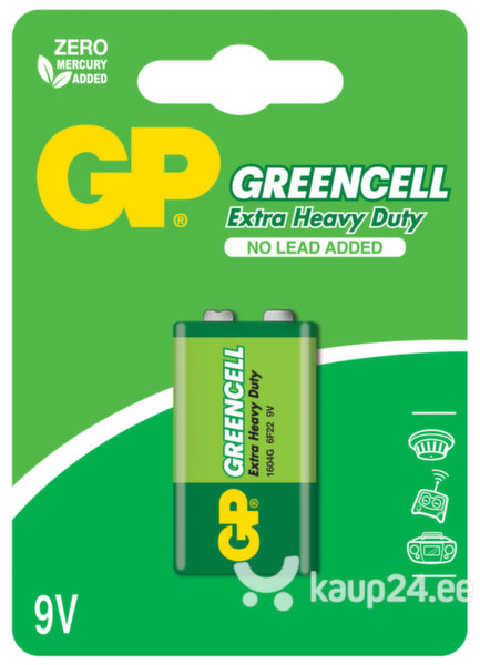GP Greencell patarei 6F22 (9V) цена и информация | Patareid | kaup24.ee