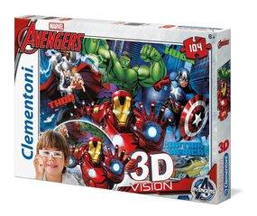 Pusle Clementoni 3D Vision Marvel Avengers, 104 osa hind ja info | Pusled | kaup24.ee