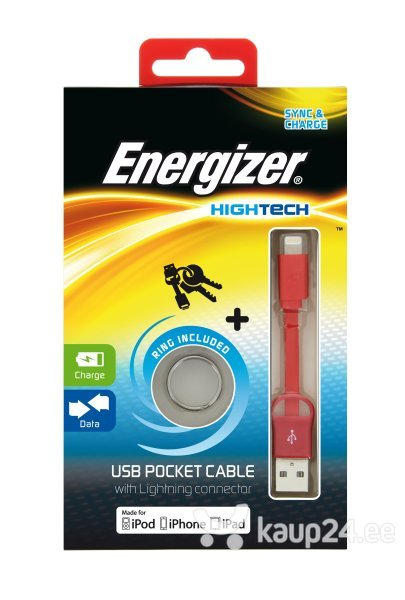 ENERGIZER Pocket USB-Lightning, punane цена и информация | Kaablid | kaup24.ee