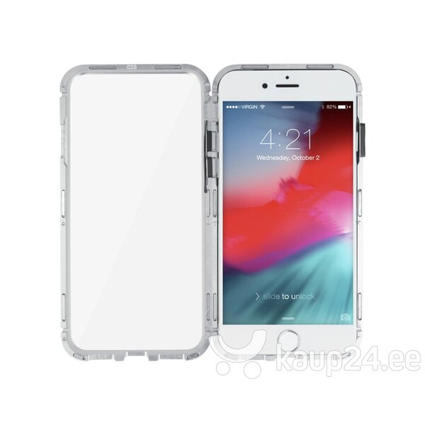 Mocco Double Side Aluminum Case 360 With Tempered Glass For Apple iPhone 6 Plus / 6S Plus Transparent - Silver tagasiside