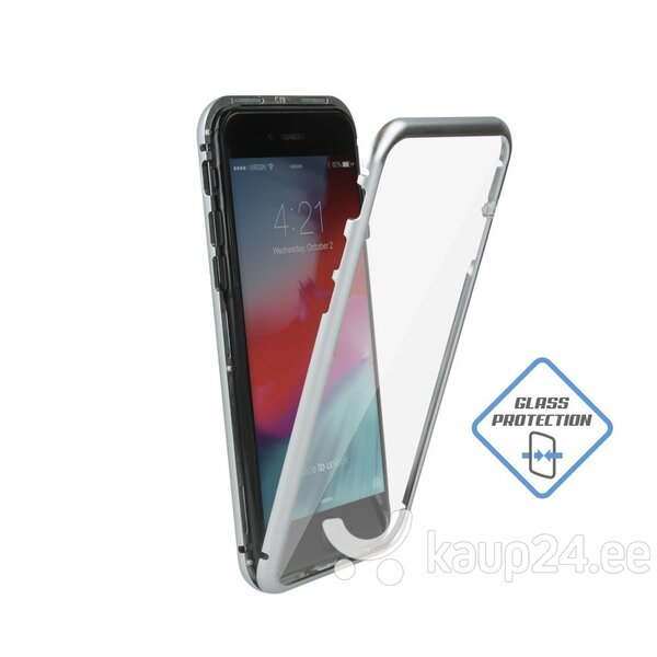 Mocco Double Side Aluminum Case 360 With Tempered Glass For Apple iPhone XR Transparent - Silver tagasiside