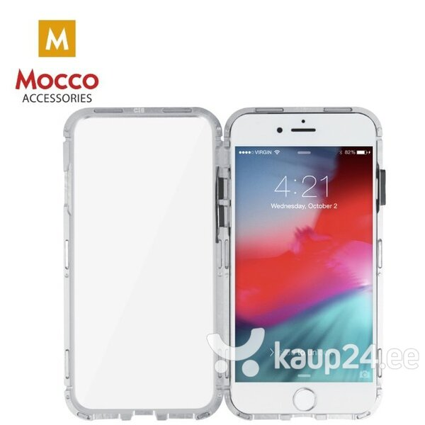Mocco Double Side Aluminum Case 360 With Tempered Glass For Apple iPhone XR Transparent - Silver hind ja info | Telefoni kaaned, ümbrised | kaup24.ee