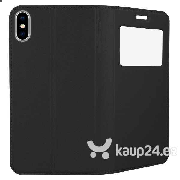 Mocco Smart Look Magnet Book Case With Window For Apple iPhone X / XS Black hind
