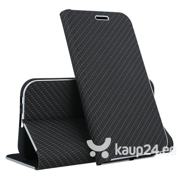 Mocco Carbon Leather Book Case For Apple iPhone X / XS Black soodsam