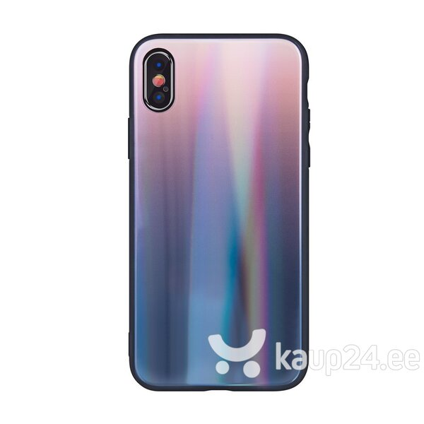 Mocco Aurora Glass Silicone Back Case for Apple iPhone XS Max Brown - Black tagasiside