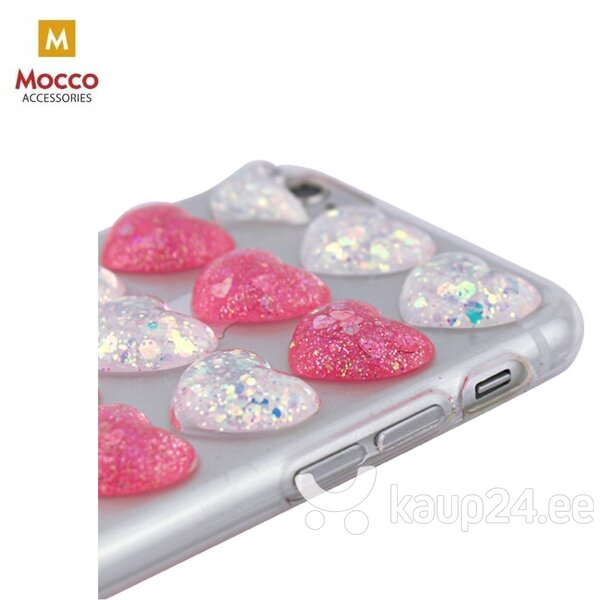 Mocco Trendy Heart Silicone Back Case for Apple iPhone 6 Plus / 6S Plus Red hind