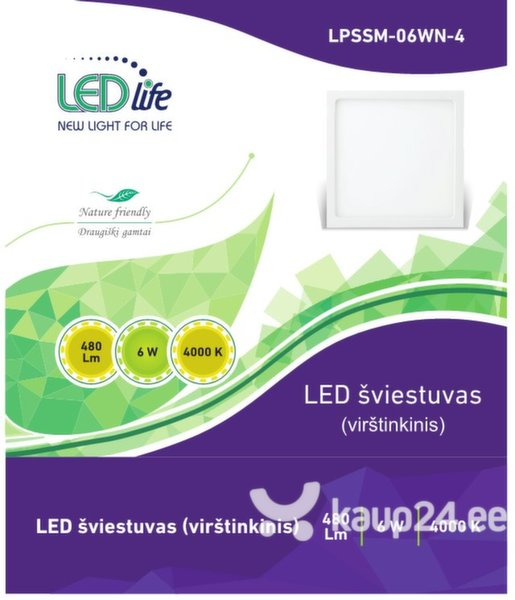 LED vagustus LEDlife, 6W ruudud цена и информация | Seinavalgustid | kaup24.ee