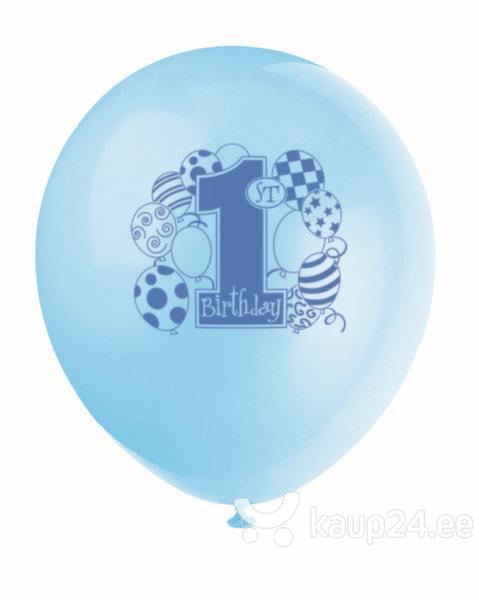 Õhupallid 1-year 8 tk/30 cm, sinine цена и информация | Peolaua kaunistused, dekoratsioonid | kaup24.ee