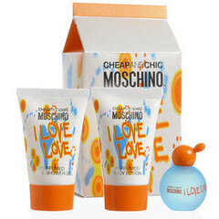 Komplekt Moschino Cheap & Chic I Love Love: EDT 4.9 ml + dušigeel 25 ml + ihupiim 25 ml