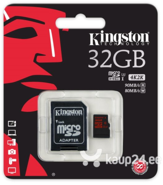 Mälukaart Kingston microSDHC 32 GB, 10 klass + SD adapter цена и информация | Mälukaardid | kaup24.ee