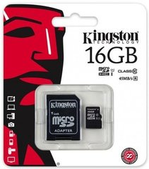 Mälukaart Kingston microSDHC (Gen II) 16 GB, 10 klass + SD adapter