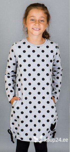 Tüdrukute kleit Millo, hall mustade mummudega цена и информация | Tüdrukute riided | kaup24.ee