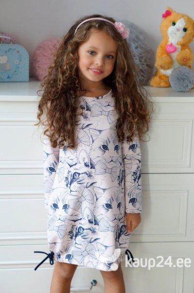 Tüdrukute kleit Millo, valge/kassid цена и информация | Tüdrukute riided | kaup24.ee