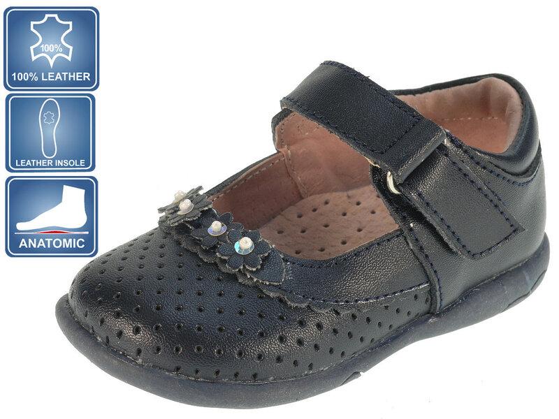 Tüdrukute sandaalid nahast Beppi 19-23 I, tumesinine
