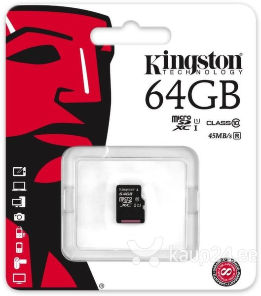 Mälukaart Kingston microSDXC 64 GB, 10 klass UHS-I 45R цена и информация | Mälukaardid | kaup24.ee