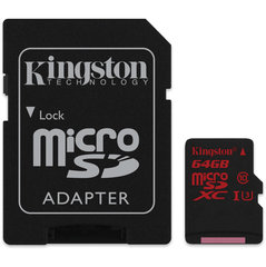 Mälukaart Kingston microSDHC 64 GB, 10 klass + SD adapter