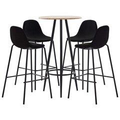 Комплект мебели для бара, 5 частей, черный цвет, ткань цена и информация | Комплект мебели для бара, 5 частей, черный цвет, ткань | kaup24.ee