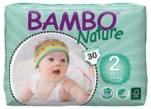 Ökoloogilised mähkmed BAMBO Nature Mini, 2, 3-6 kg, 30 tk.
