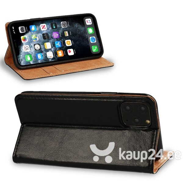 Telefoniümbris Leather book iPhone 11, must