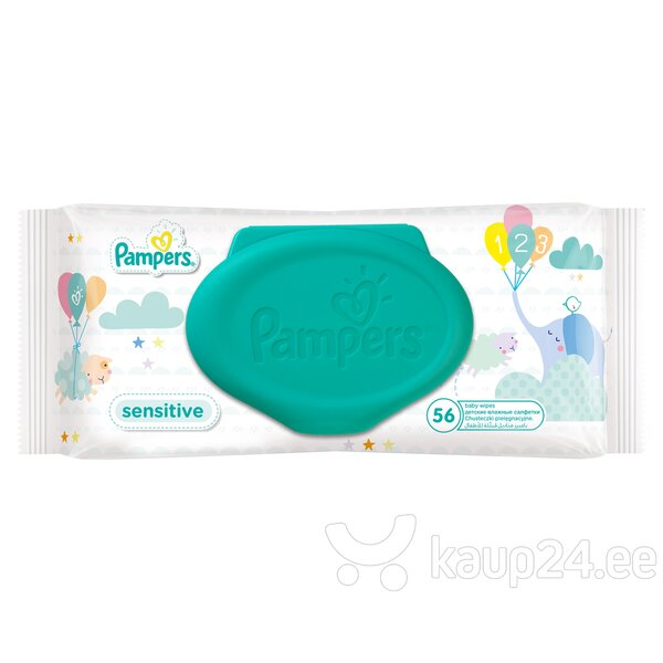 Niisked salvrätikud Pampers Baby Wipes Sensitive, 56 tk. цена и информация | Mähkmed ja mähkimislinad | kaup24.ee