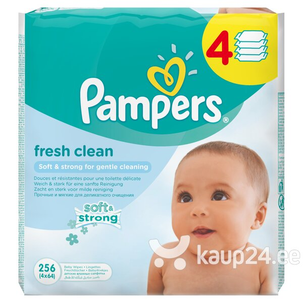 Niisked salvrätikud Pampers Fresh Clean 4x64 tk цена и информация | Mähkmed ja mähkimislinad | kaup24.ee