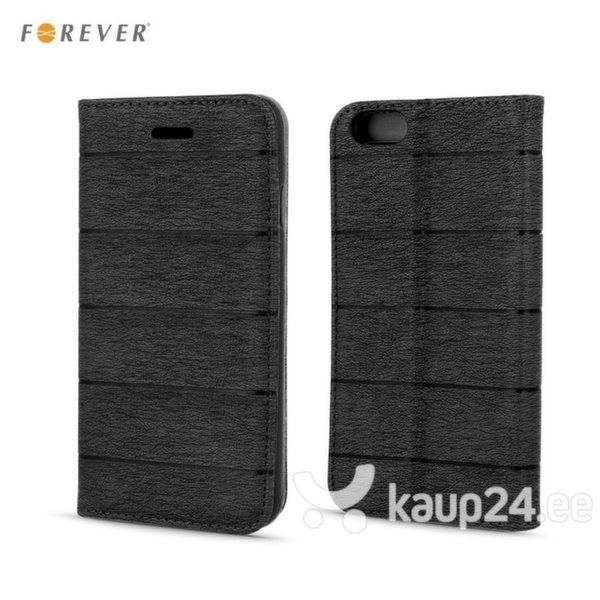 Kaitseümbris Forever Smart Magnetic Fix Cloth Line sobib Huawei P8 Lite, must цена и информация | Mobiili ümbrised, kaaned | kaup24.ee