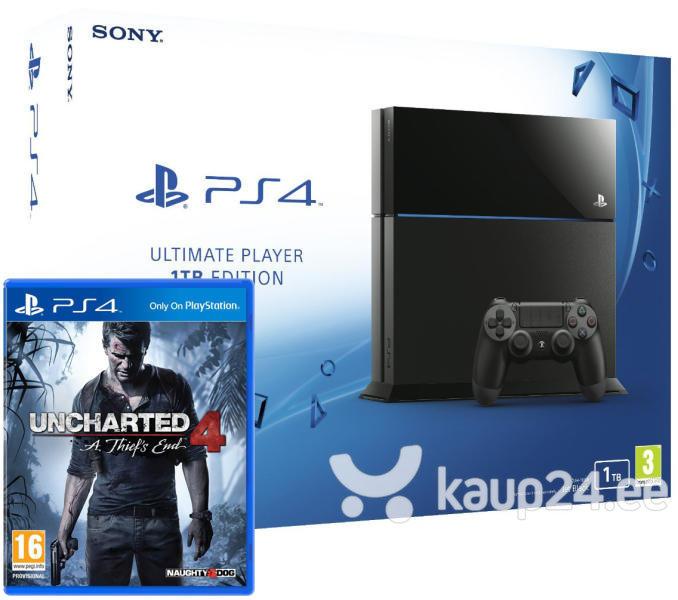 Mängukonsool Sony Playstation 4 1TB + Uncharted 4 цена и информация | Mängukonsoolid | kaup24.ee