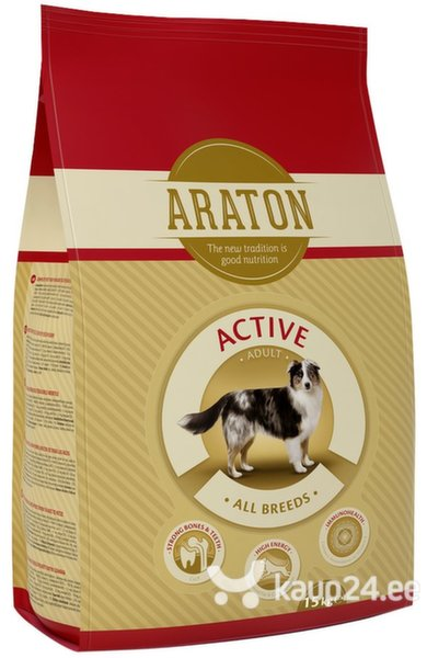 ARATON Adult Active All Breeds, 15 kg цена и информация | Kuivtoit koertele | kaup24.ee