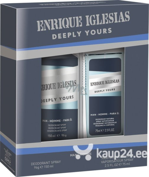 Komplekt Enrique Iglesias Deeply Yours meestele: spreideodorant 150 ml + naturaalne deodorant 75 ml цена и информация | Lõhnastatud kosmeetika meestele | kaup24.ee