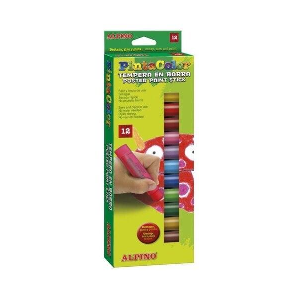 Mahapestavad guaššipulgad Alpino Pintacolor, 12 värvi цена и информация   Värvimis- ja kirjutusvahendid   kaup24.ee
