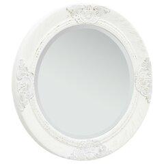 vidaXL barokkstiilis seinapeegel 50 cm, valge hind ja info | Peeglid | kaup24.ee