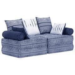 vidaXL 2-kohaline modulaarne tumba, indigo, kangas hind ja info | Kott-toolid, tumbad, järid | kaup24.ee