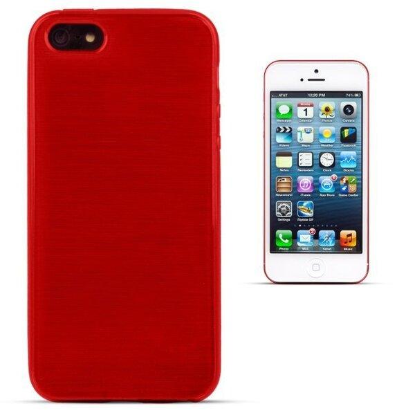 Kaitseümbris Forcell Jelly Brush Pearl sobib Apple iPhone 5/5S/SE, punane hind ja info | Mobiili ümbrised, kaaned | kaup24.ee