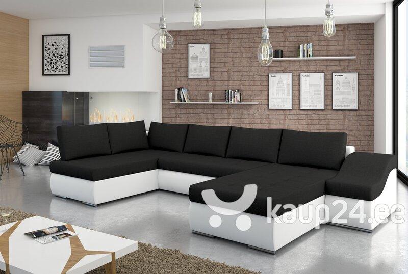 Universaalne pehme nurgadiivan Giovanni, valge/must hind ja info | Diivanid ja pehme mööbel | kaup24.ee