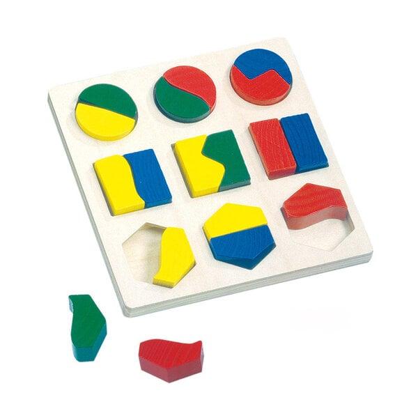 Puidust puzzle geomeetriliste kujunditega Bino цена и информация | Arendavad mänguasjad 3+ | kaup24.ee