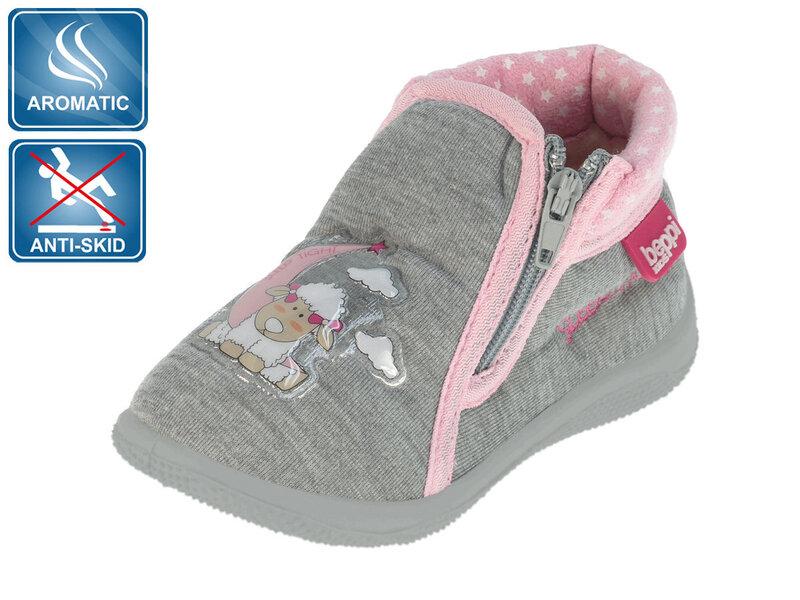 Tüdrukute sussid Beppi, roosa/hall I цена и информация | Laste jalanõud | kaup24.ee