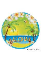 Papptaldrikud Hawaii, 23 cm hind ja info | Peolaua kaunistused, dekoratsioonid | kaup24.ee