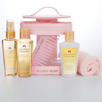 Komplekt Victoria's Secret Coconut Passion naistele : lõhnav kehasprei 60ml + ihupiim 60 ml + dušigeel 60 ml + kamm + rätik + kosmeetika kott hind ja info | Lõhnastatud kosmeetika naistele | kaup24.ee