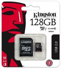Mälukaart Kingston microSDHC (Gen II) 128 GB, 10 klass + SD adapter
