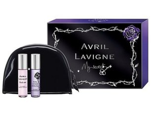 Komplekt Avril Lavigne My Secret: Black Star EDP naistele 10 ml + Forbidden Rose EDP naistele 10 ml + kosmeetikakott