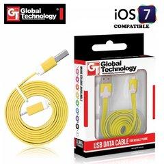GT Flat ios7 USB Lightning 8pin Кабель данных и заряда 1м для iPhone 5 5S iPad 4 / mini Желтый цена и информация | Кабель | kaup24.ee
