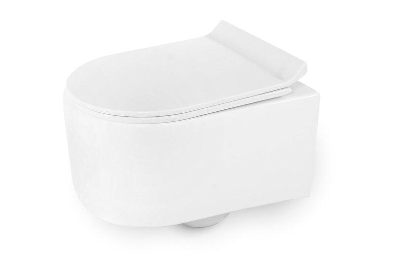 WC-pott REA Olivia Slim mini Rimless aeglaselt sulguva kaanega