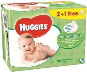 Niisked salvrätikud HUGGIES Natural Care 168 tk