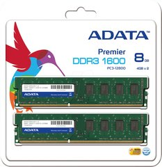 Operatiivmälu A-Data 8GB 1600MHz DDR3 CL11 KIT OF 2 AD3U1600W4G11-2
