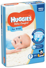 Mähkmed HUGGIES Ultra Comfort Boys Suurus 3, 80tk